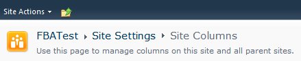 Site Columns Application Page Title
