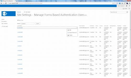 SharePoint 2013 FBA Pack Manage Users
