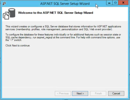aspnet_regsql wizard welcome