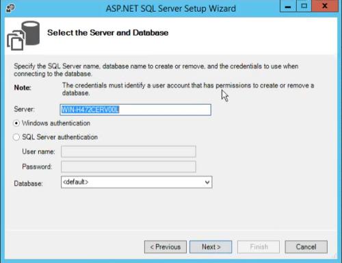 aspnet_regsql wizard select db